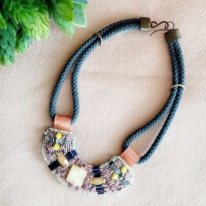 Anthropologie Necklace Statement Bib Beaded Cord